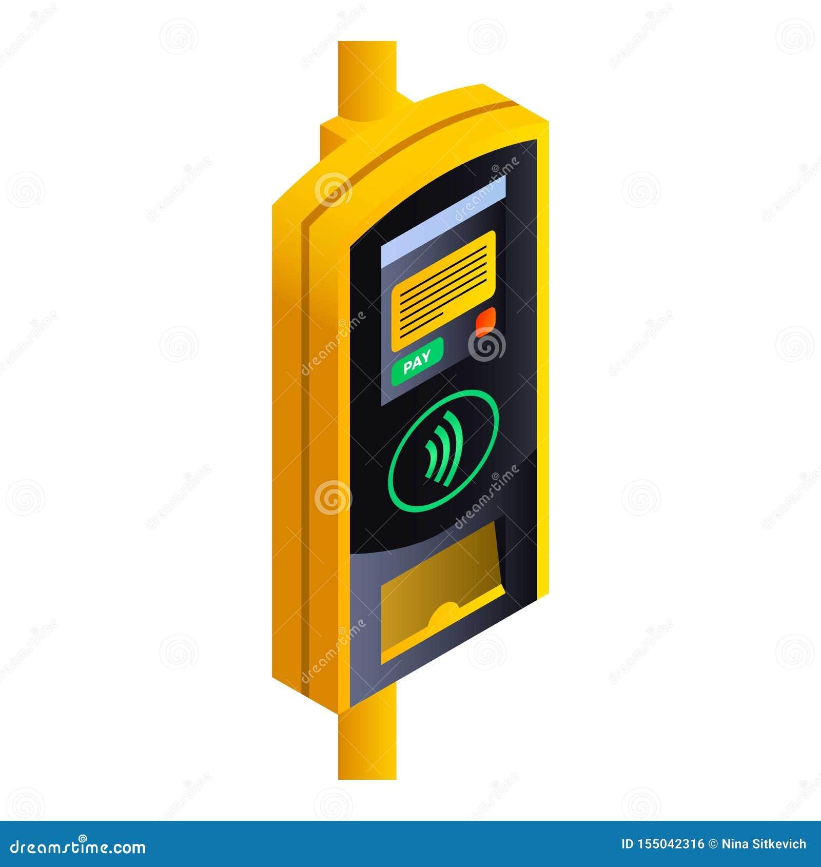 Transport publiczny płatnicza śmiertelnie ikona, isometric styl