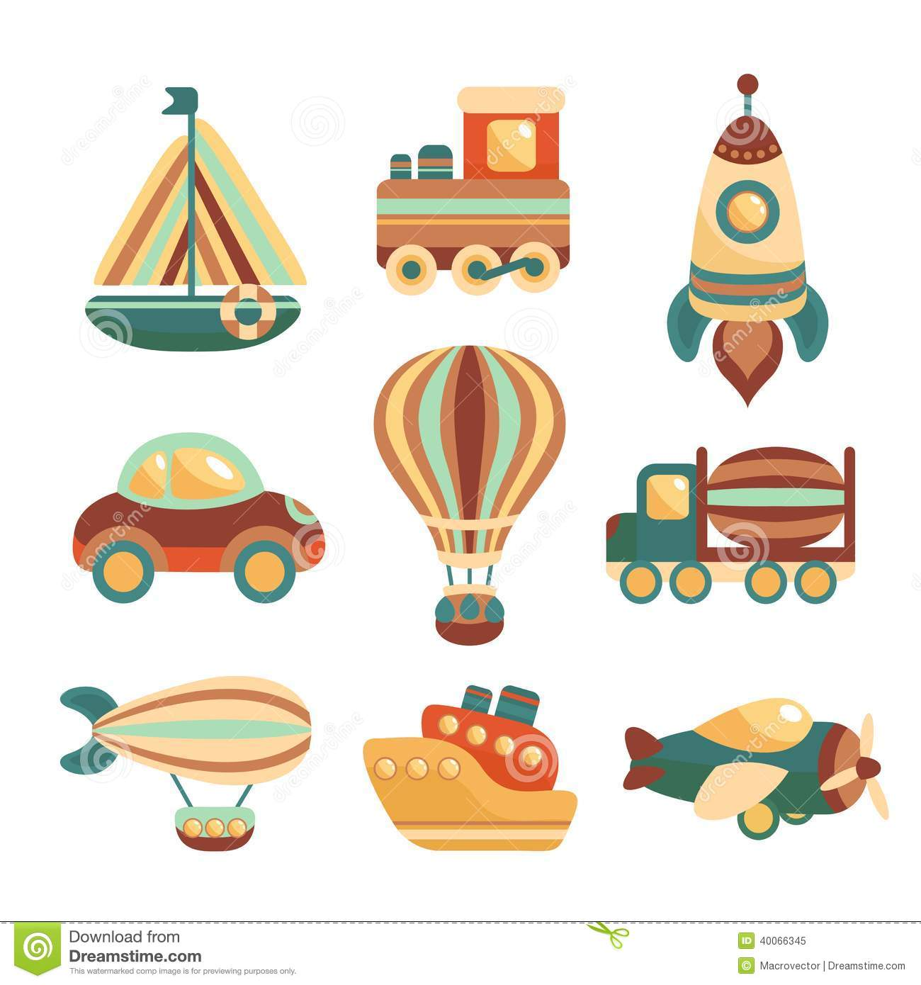 Toy Transport Colored Cartoon Icons Set With Yacht Train Space Rocket