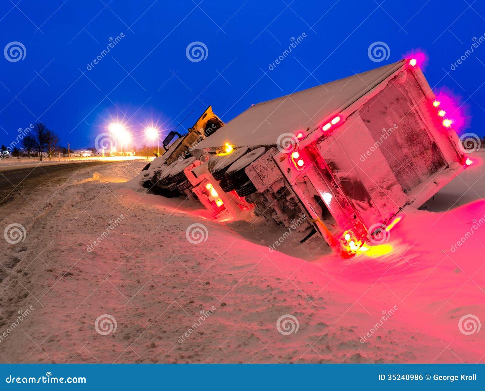 Transport Truck in Winter Ditch Evening