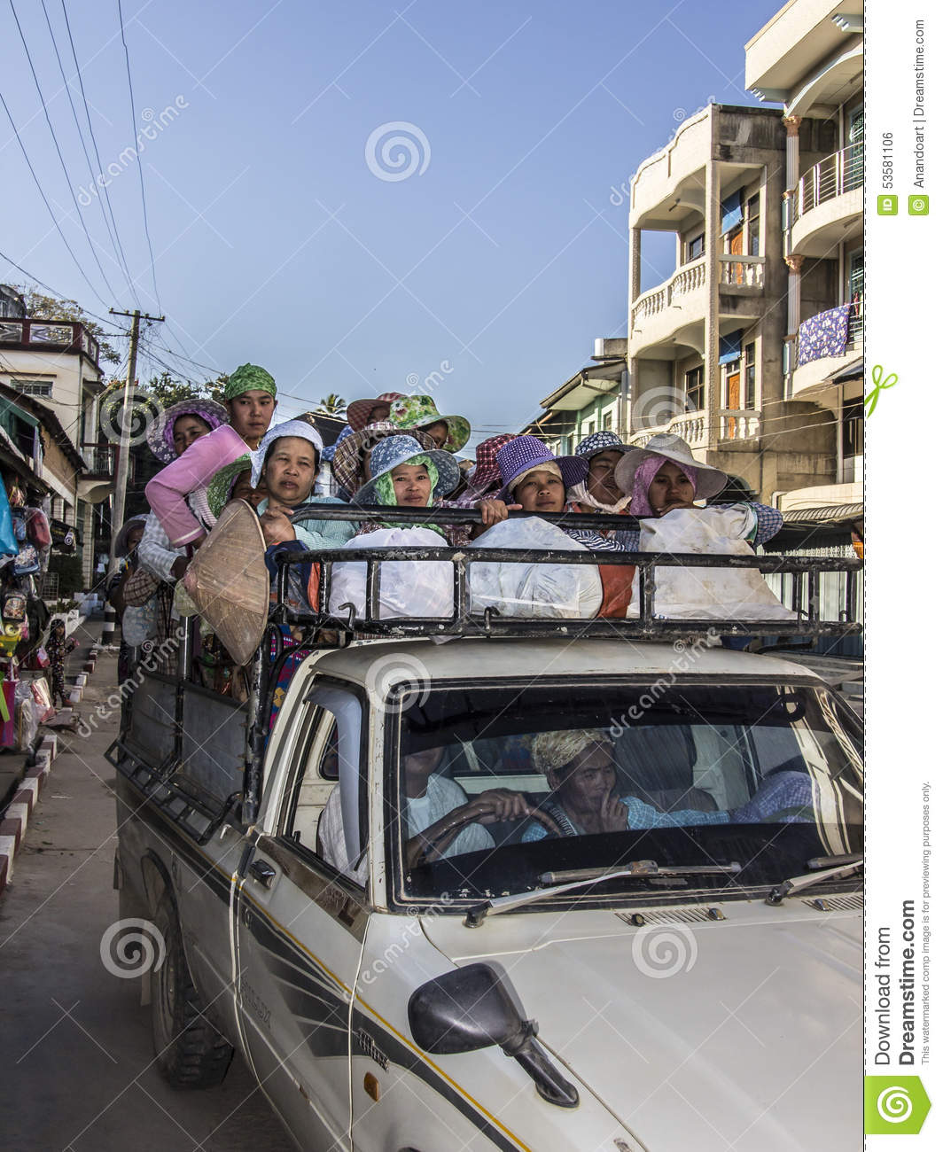 Keng Tung Myanmar  city pictures gallery : ... of workers on the load area of a pick up in Keng Tung, Myanmar