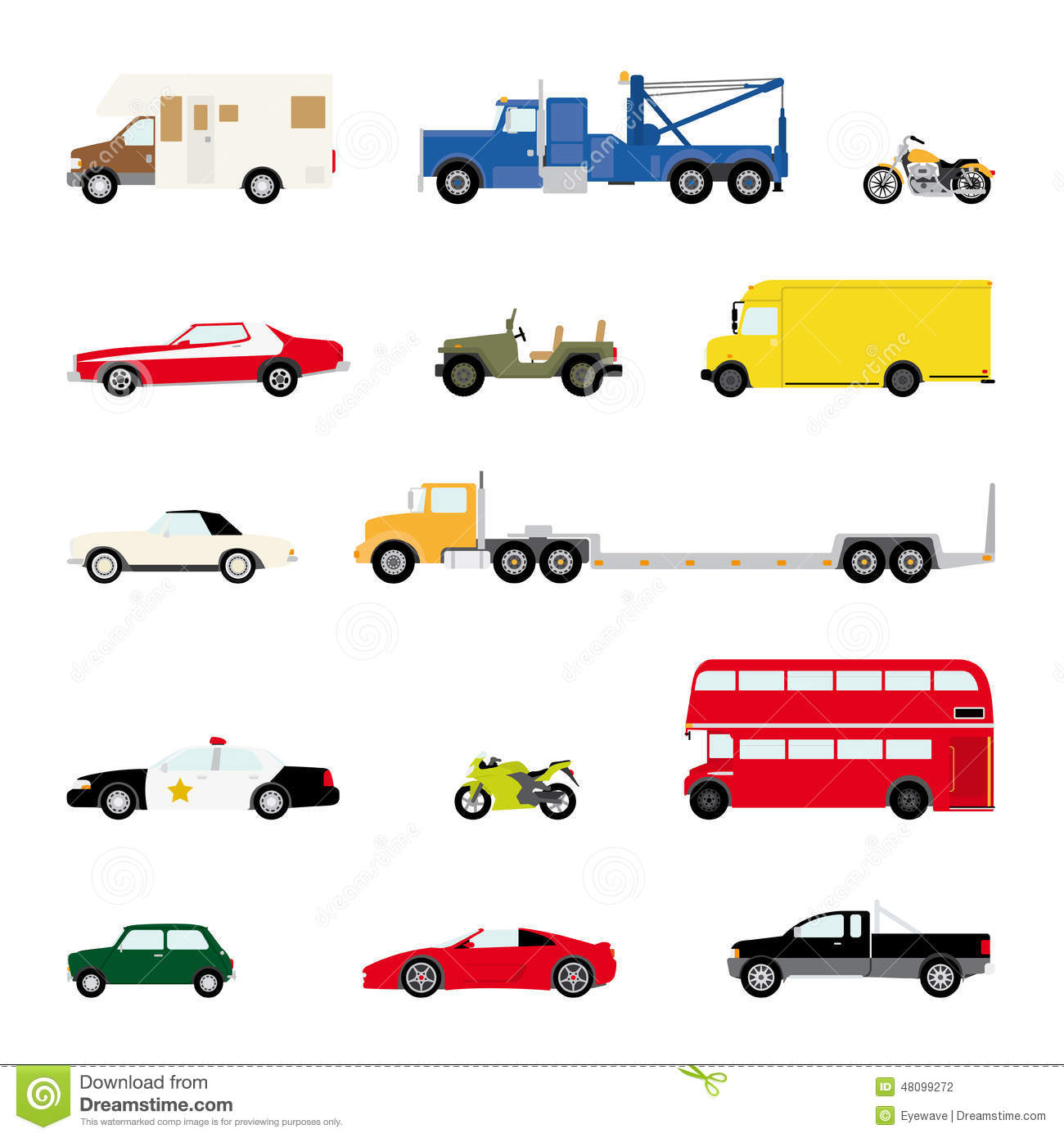 Transportation And Automotive Symbol Vector Set Stock Vector Image 48099272