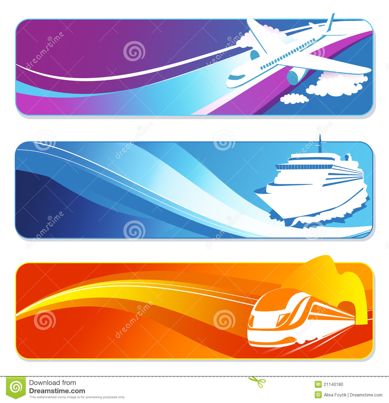 Travel transportation banners set. Vehicles banners.