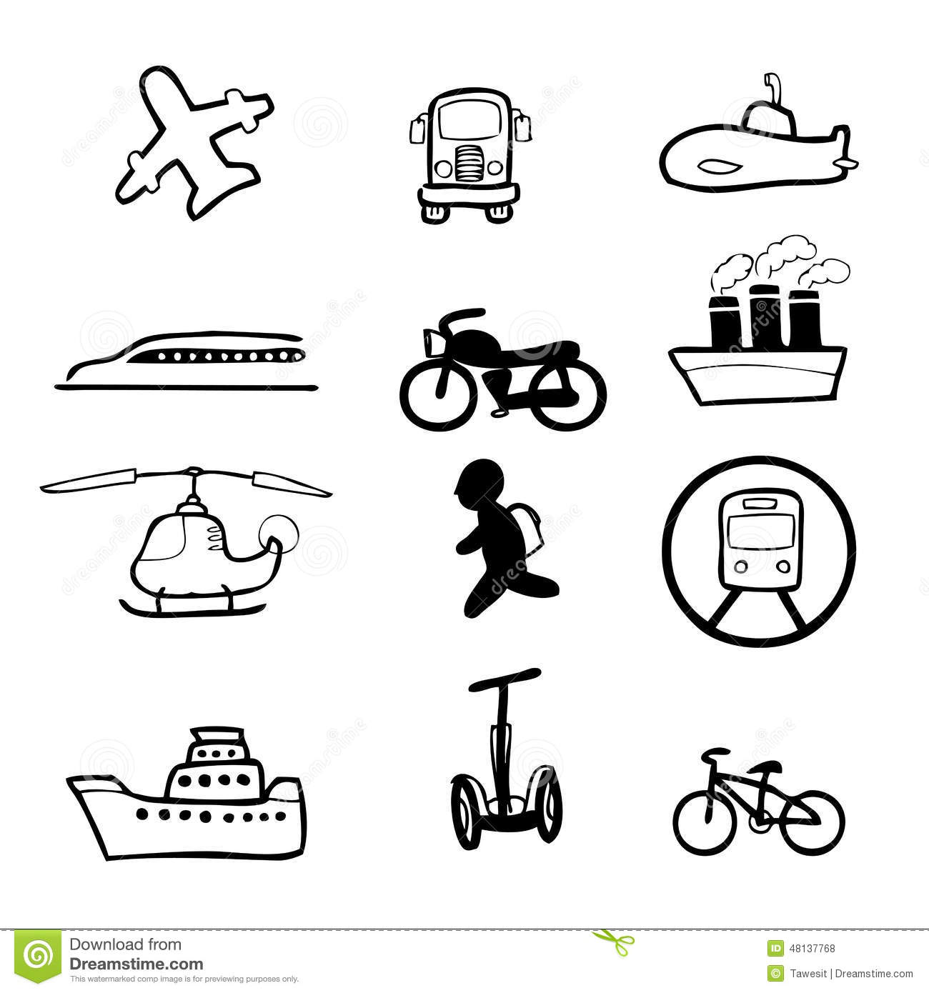 Transportation Commuter Drawing Icons Set Stock Vector