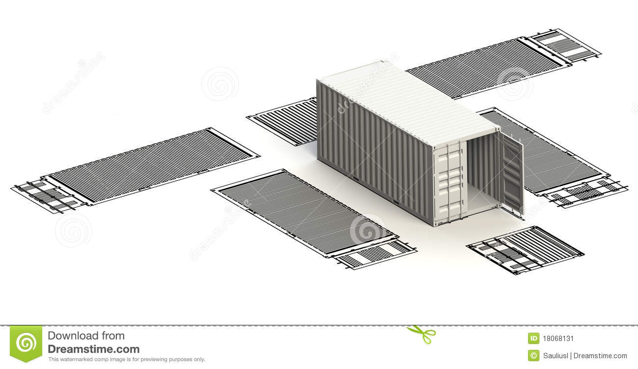 Transportation Container Charts With 3d Model Stock Illustration - Image: 18068131