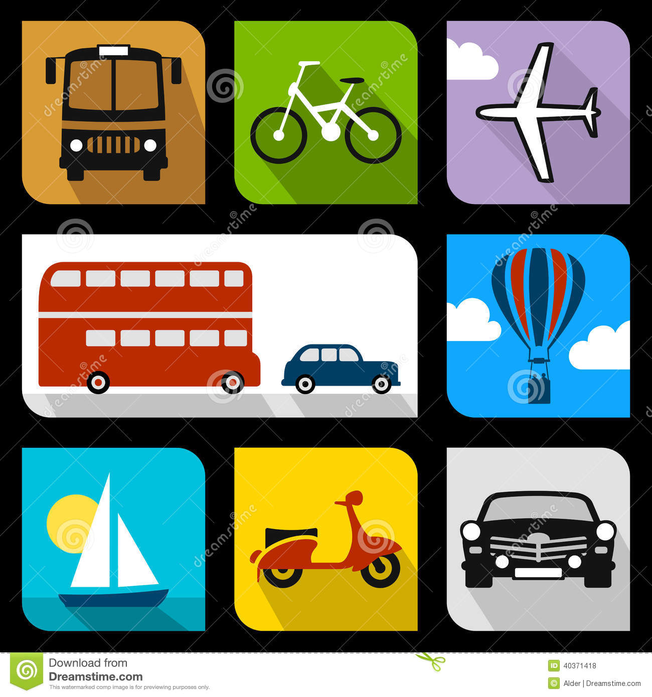 Download Transportation flat icons stock vector. Illustration of cloud - 40371418