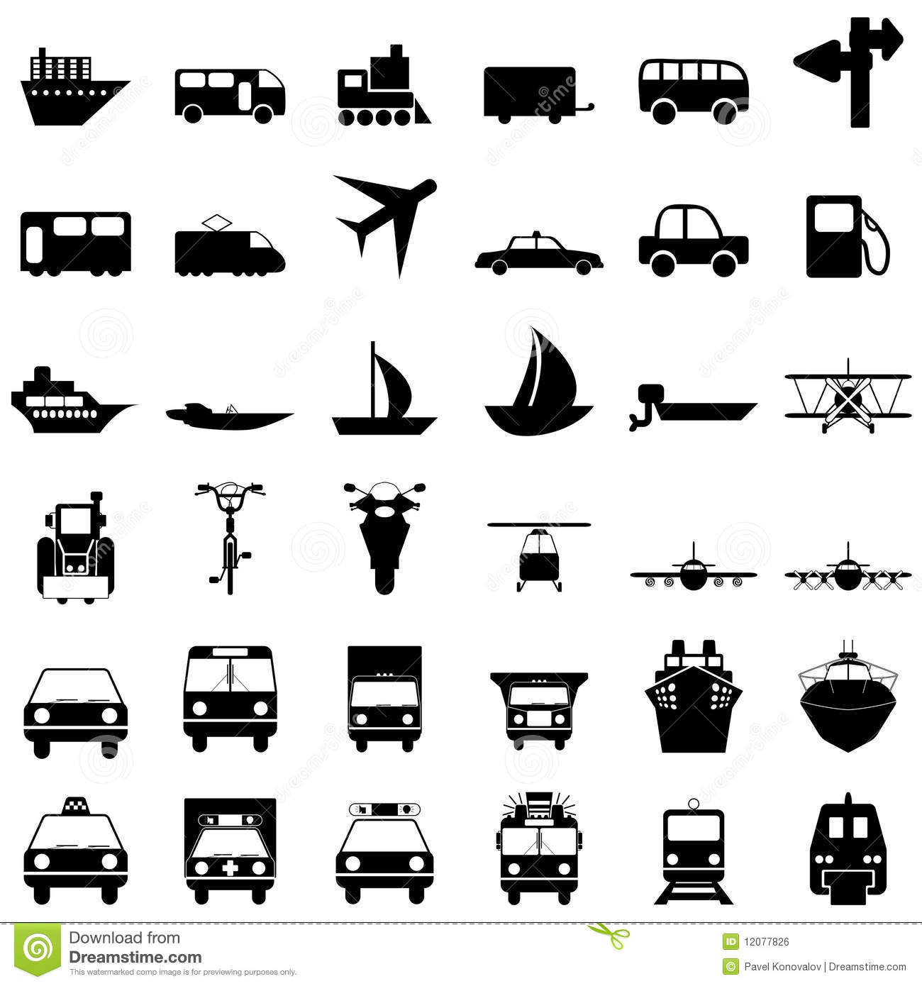 Transportation Icons Set Stock Vector Illustration Of