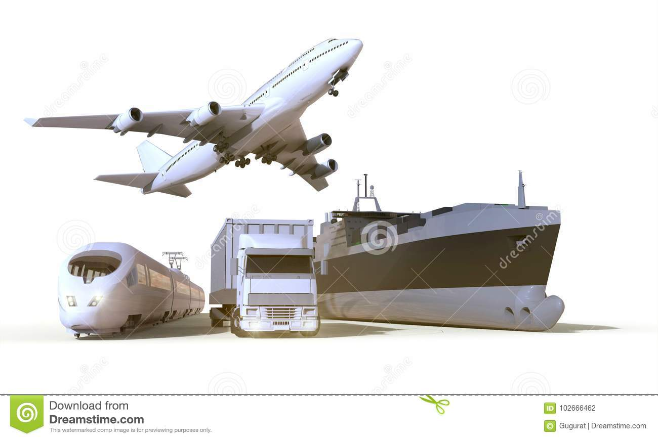Transportation and Logistics truck,train, Boat and plane on isolate Background