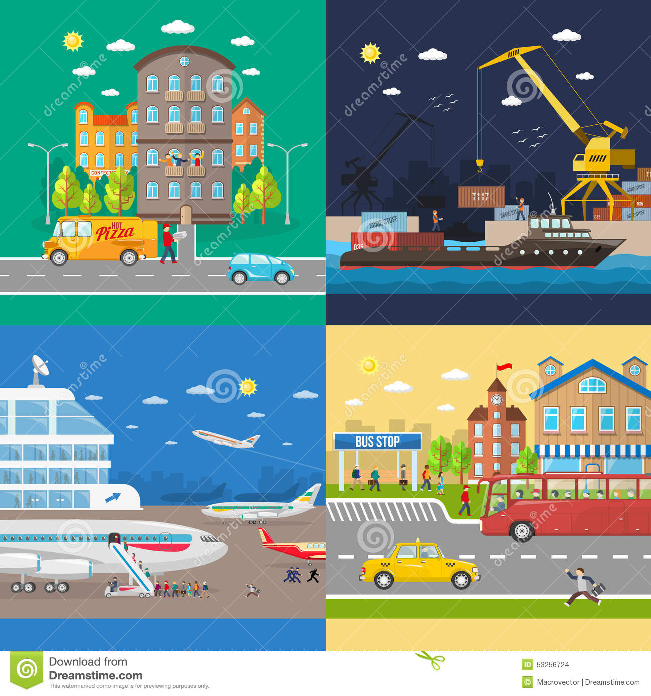 Transportation of passengers and goods delivery