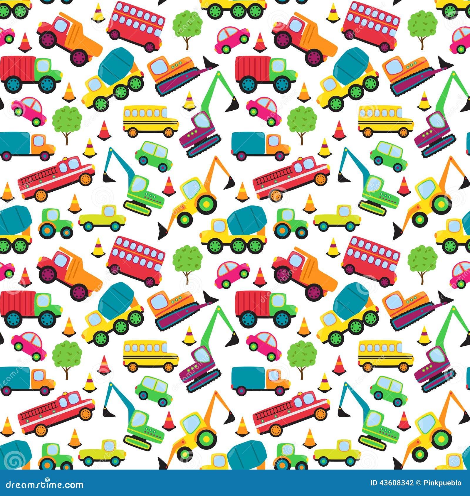 Transportation Themed Seamless Tileable Background Pattern