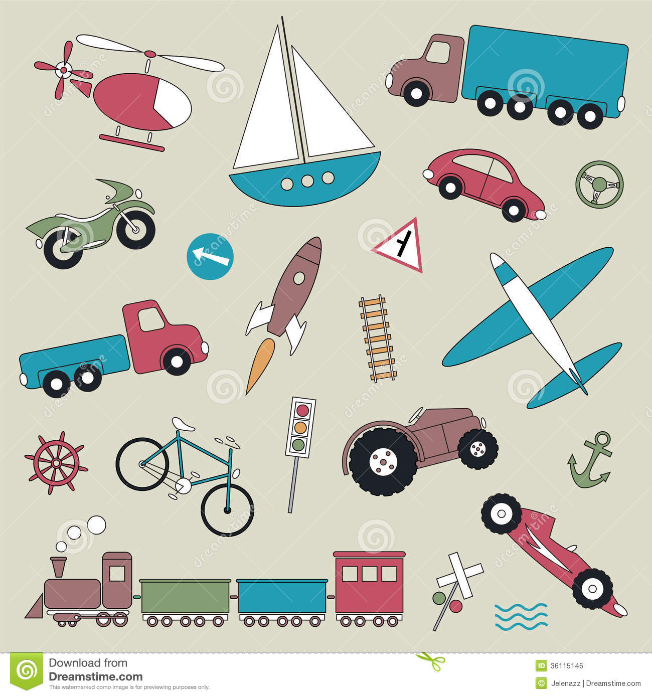 Street Dreams Auto >> Transportation Vehicles Collection Illustration Stock Vector - Image: 36115146