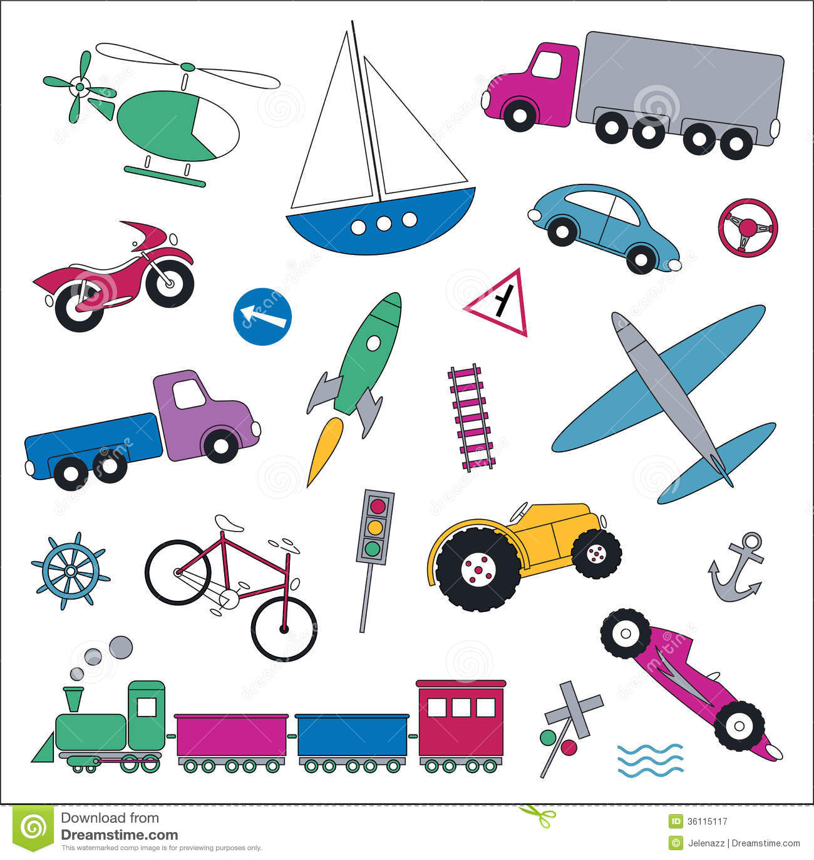 Transportation Vehicles Collection Illustration Royalty ...
