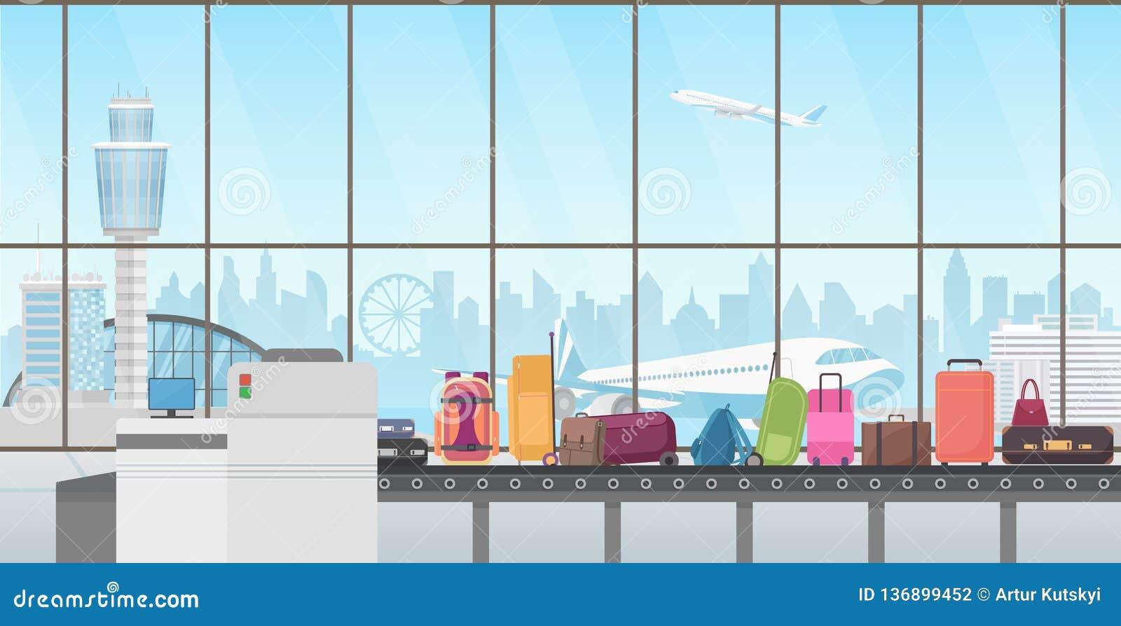 Transportband in moderne luchthavenzaal De vectorillustratie van het bagagebandbeeldverhaal