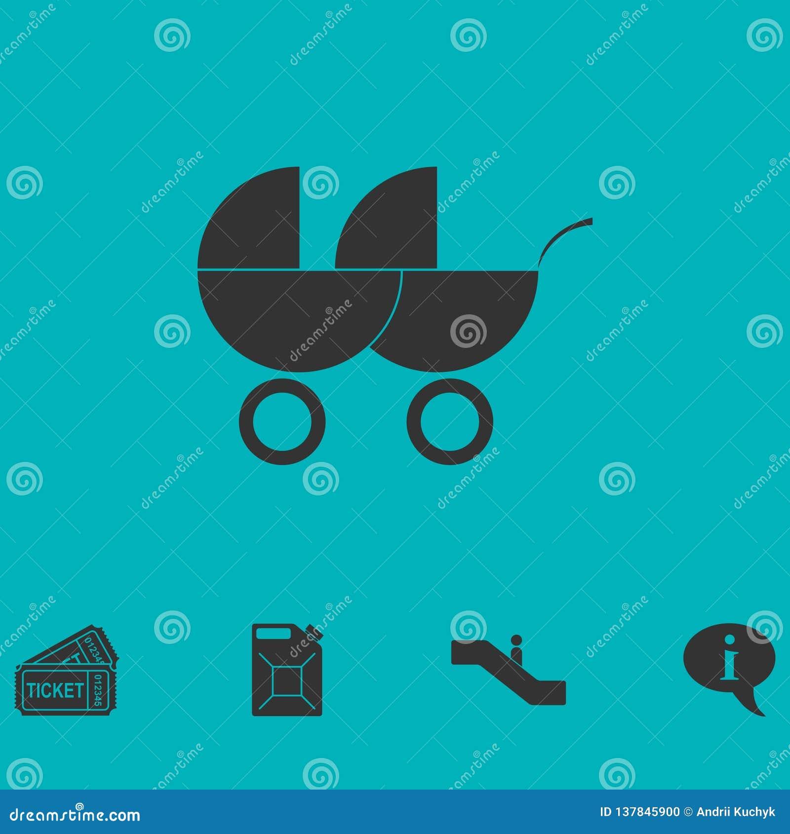 Transporte de bebê para o plano do ícone de dois bebês