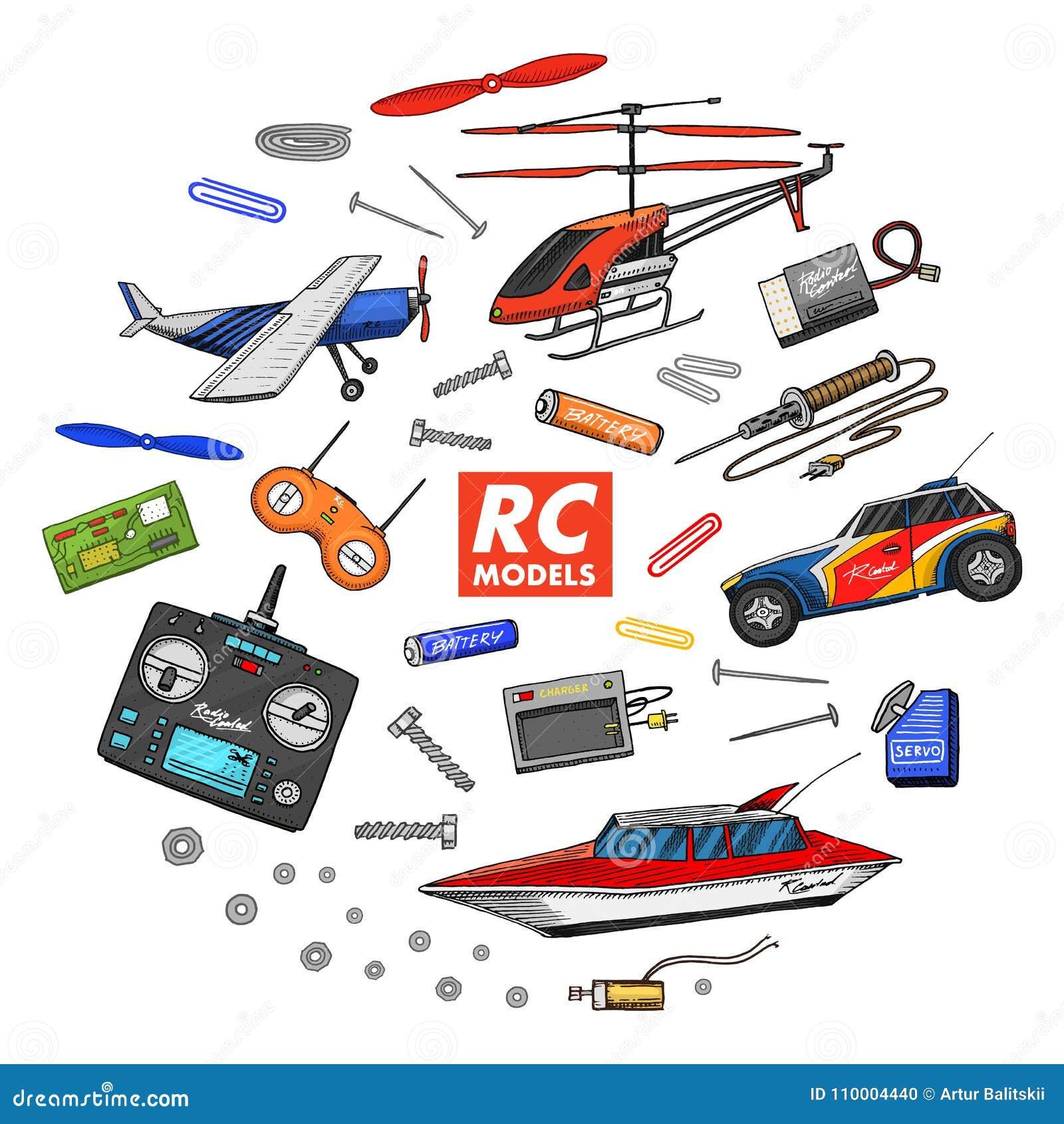 Transporte de RC, modelos de controle remoto brinquedos ou instrumentos ajuste detalhes dispositivos, equipamento, ferramentas pa