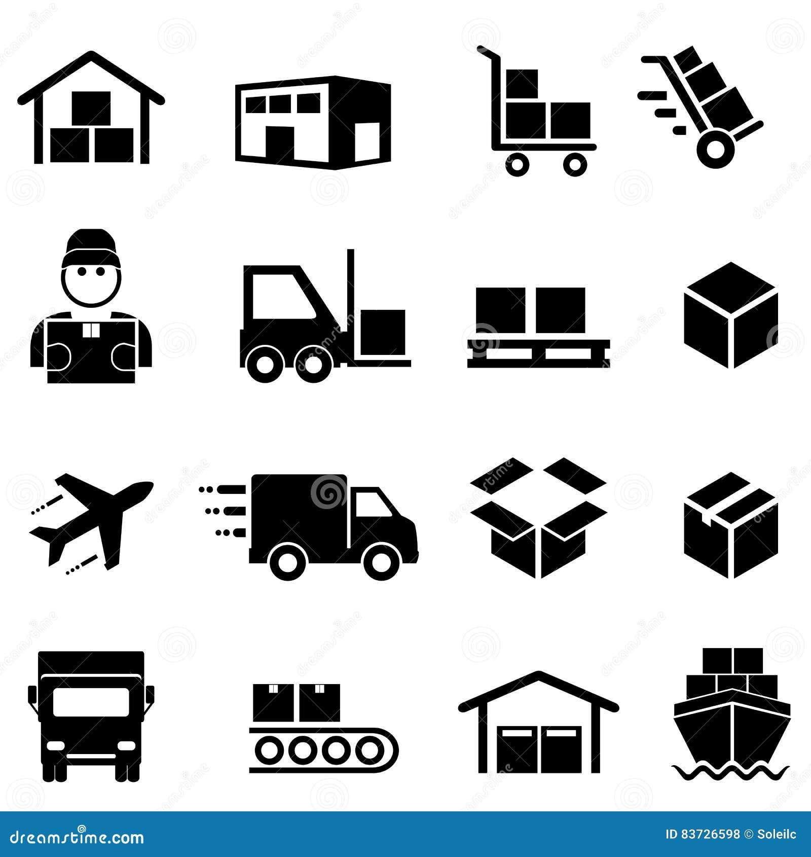 Transporte, distribuição, carga e ícones da logística
