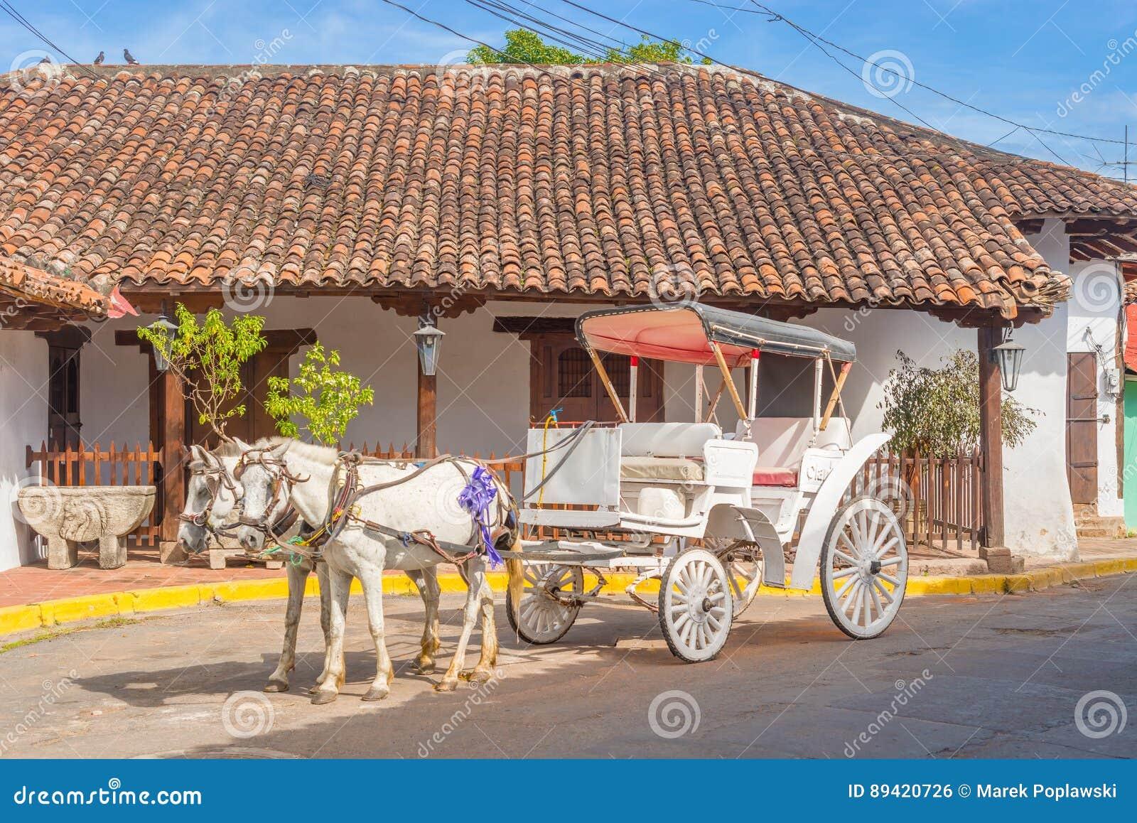 Transporte do cavalo na rua em Granada, Nicarágua