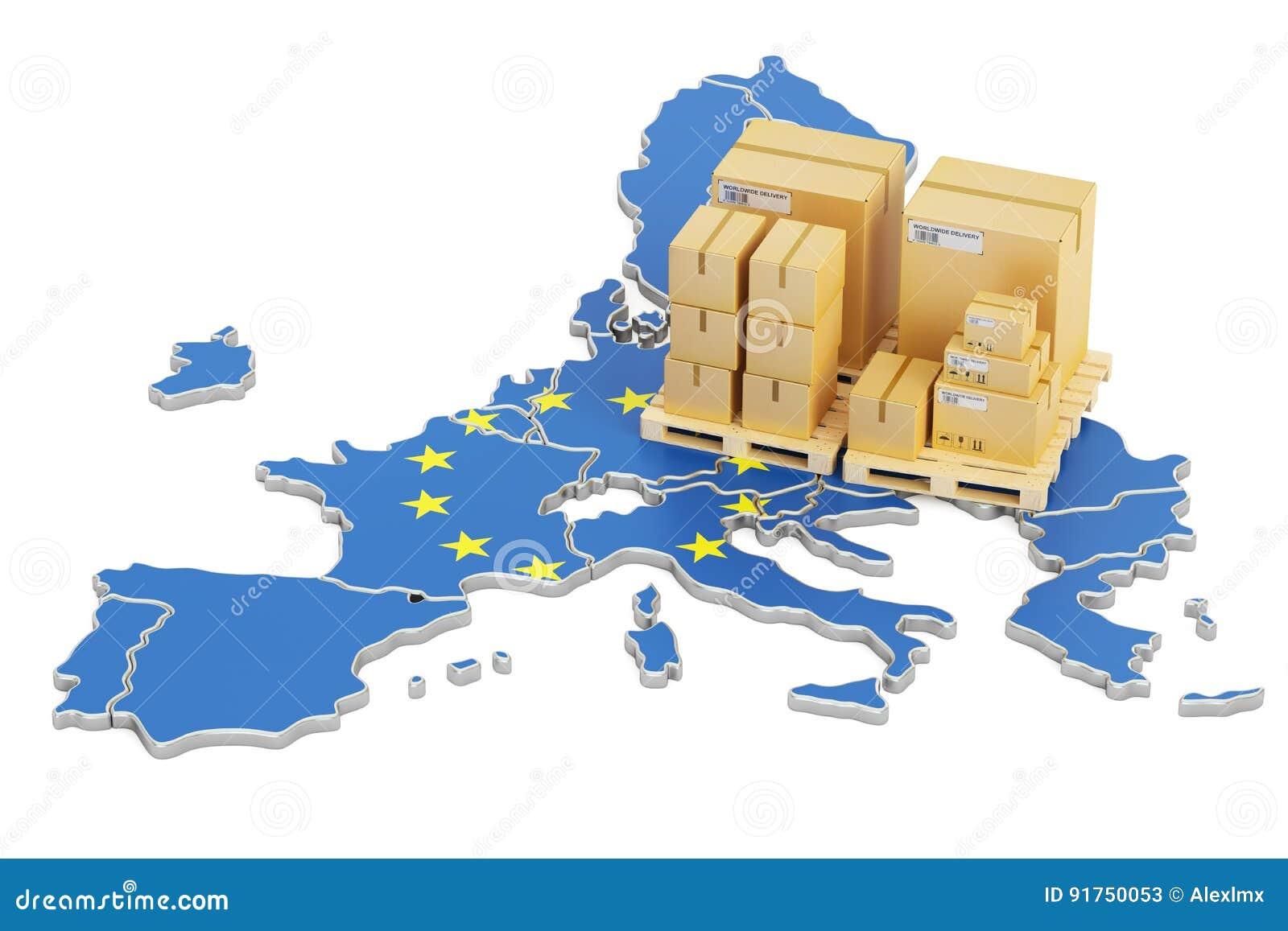 Transporte e entrega do conceito da União Europeia, rendição 3D