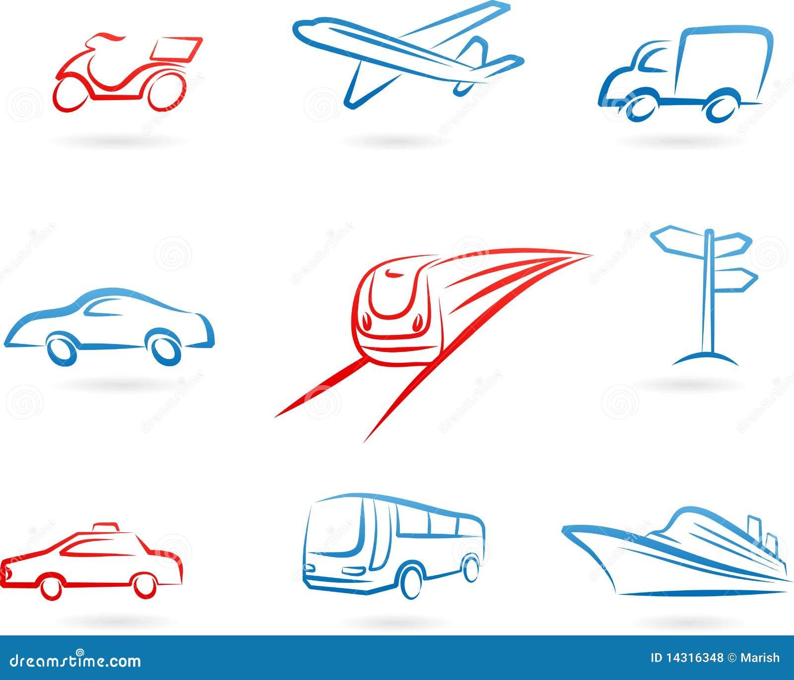 Transporte el conjunto del icono del concepto
