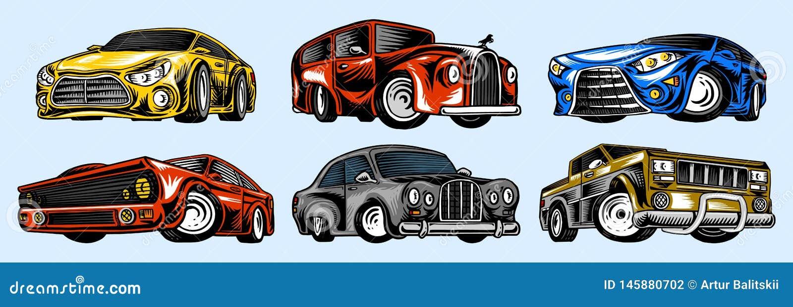 Transportes de los coches y del vintage del m?sculo para el logotipo y las etiquetas Fije de servicio auto retro de la escuela vi
