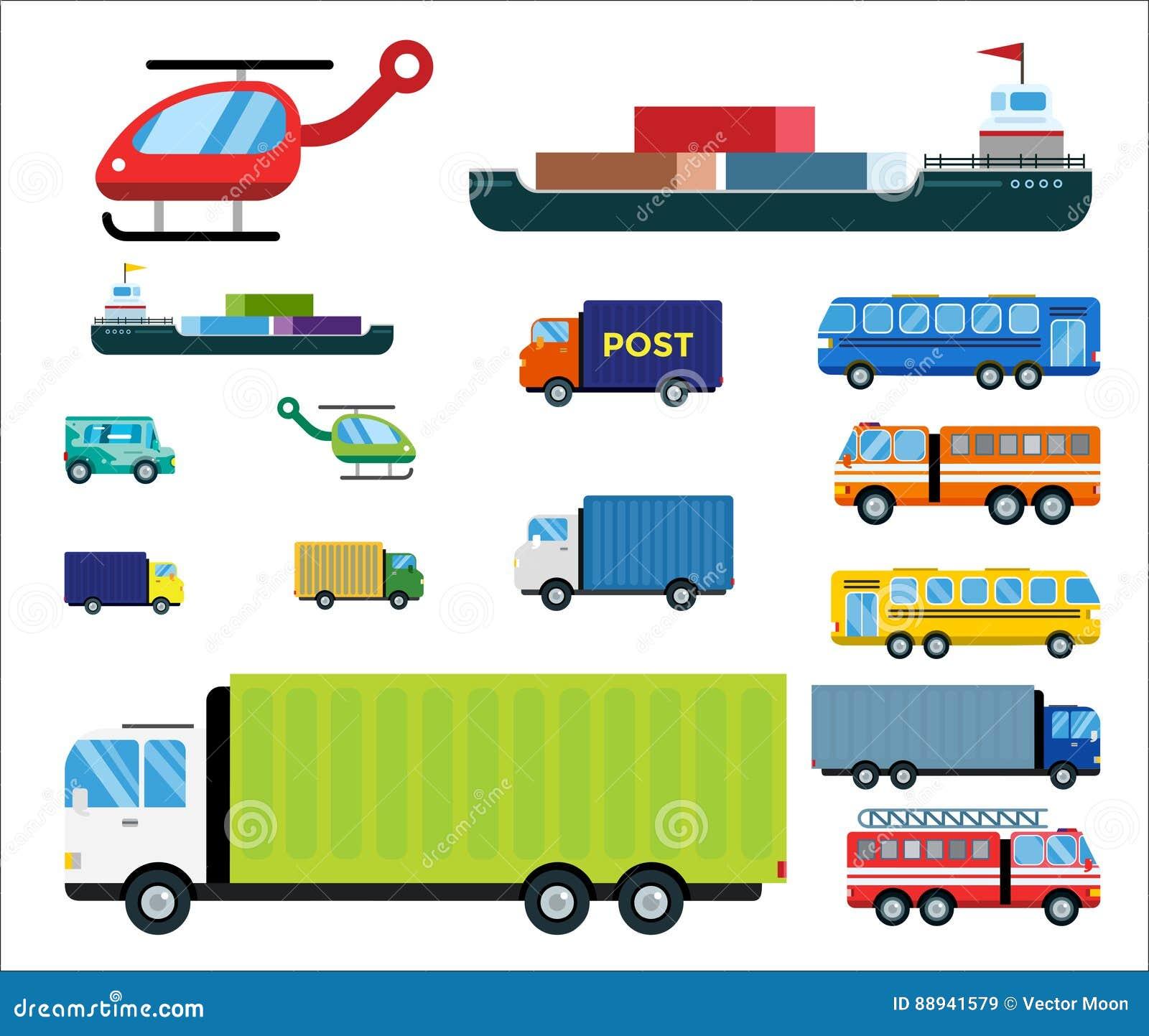 Transportlieferungsvektor lokalisierte weißen Transportautobuspackwagenlöschfahrzeughubschrauberschiffsschattenbild-Ikonentanker