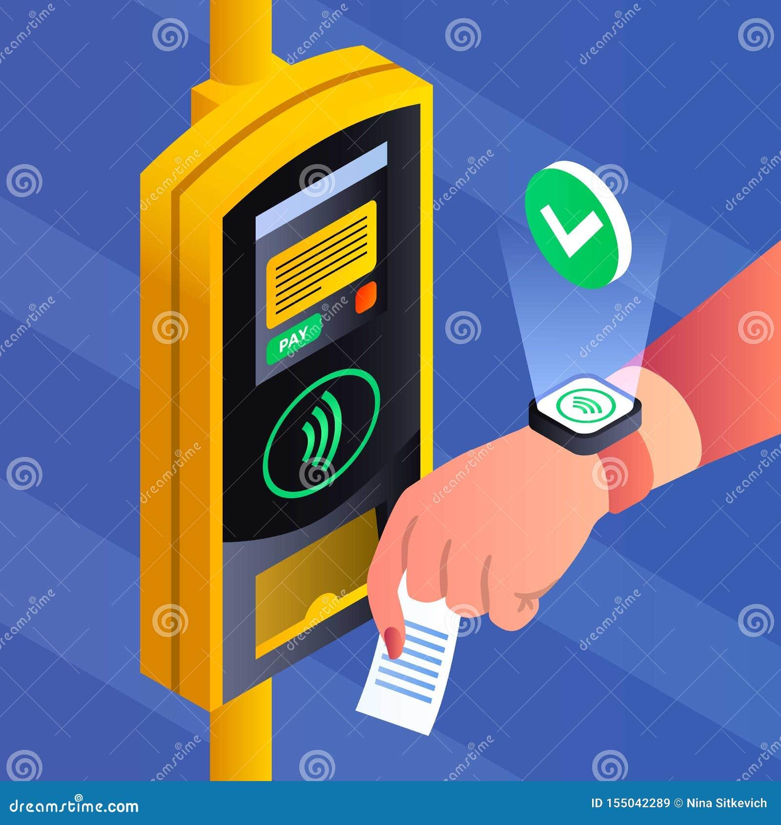 Transportu publicznego nfc pojęcia płatniczy tło, isometric styl