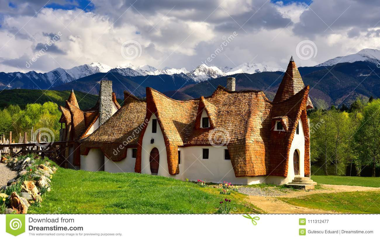 Download Transylvania Clay Castle In Romania, In The Spring With Mountains In The Background Stock Image - Image of background, flowers: 111312477
