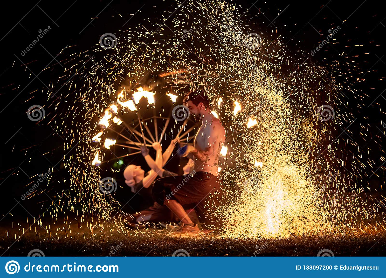 Transylvania medieval festival in Romania, fire-spitting ,flame thrower,Fire Breather