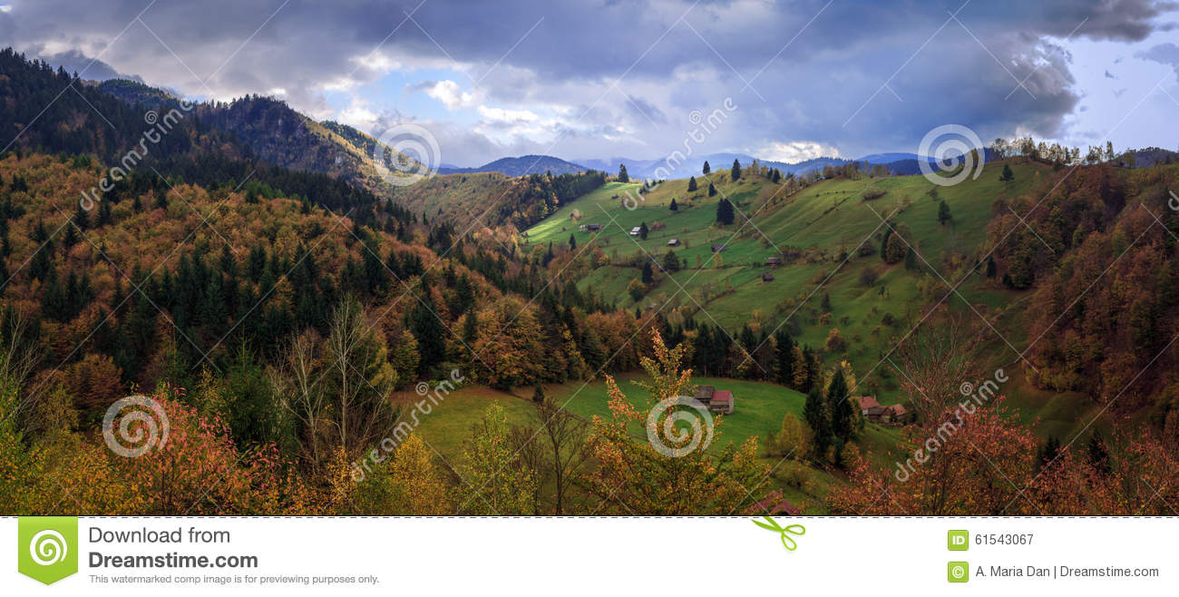 Transylvania , Romania. old houses scattered among the hills, on an ...