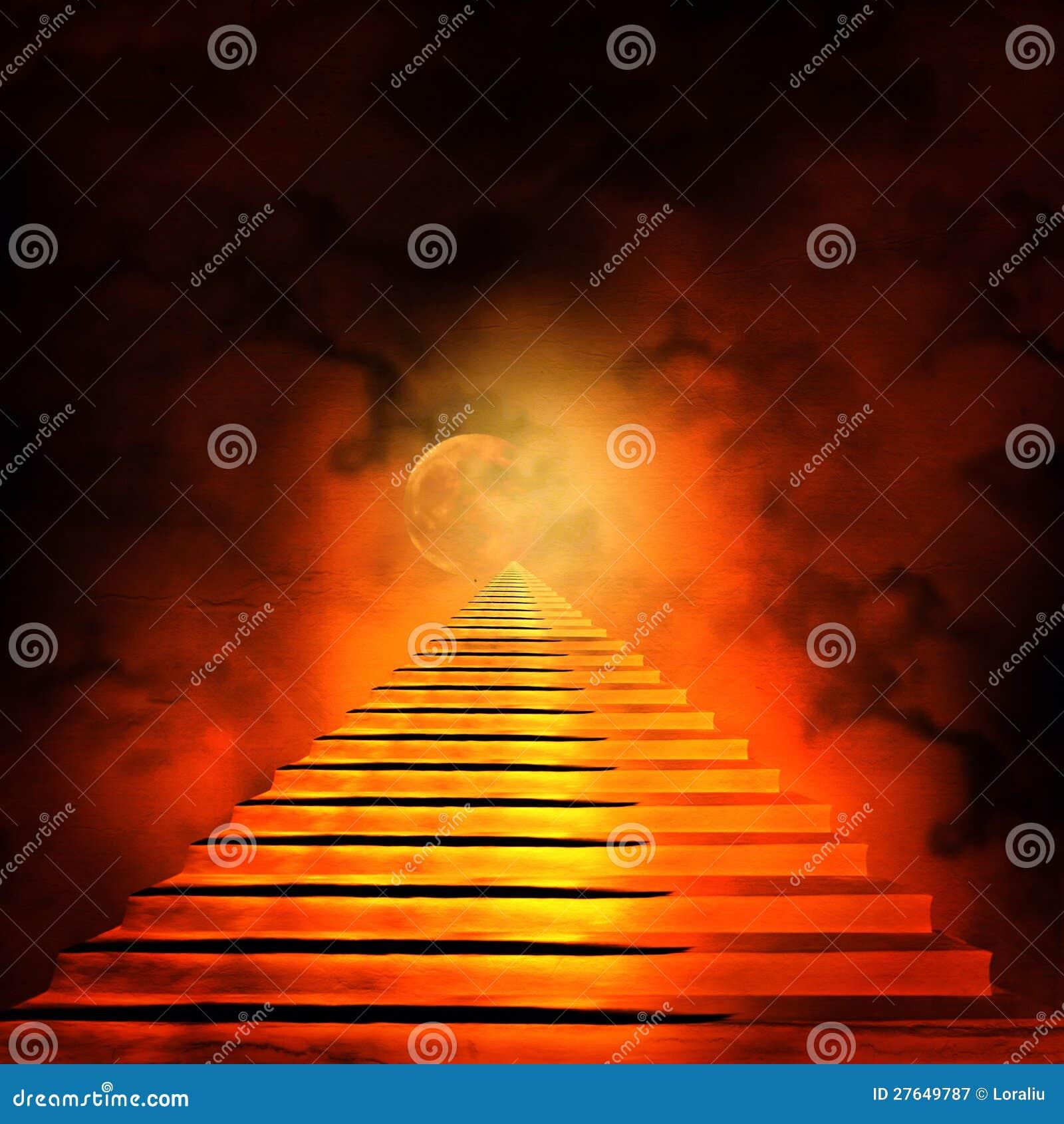 Trap die tot hemel of hel leidt royalty vrije stock fotografie beeld 27649787 - De trap van de bistro ...