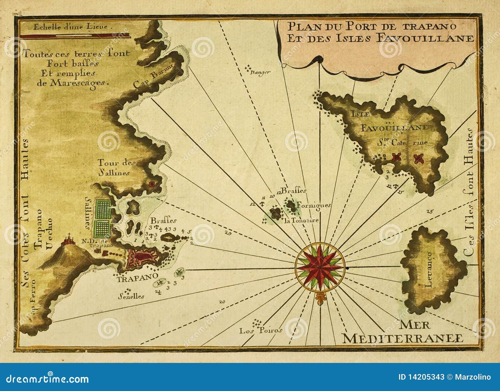 Trapani, Favignana And Levanzo Old Map Stock Image - Image of ...