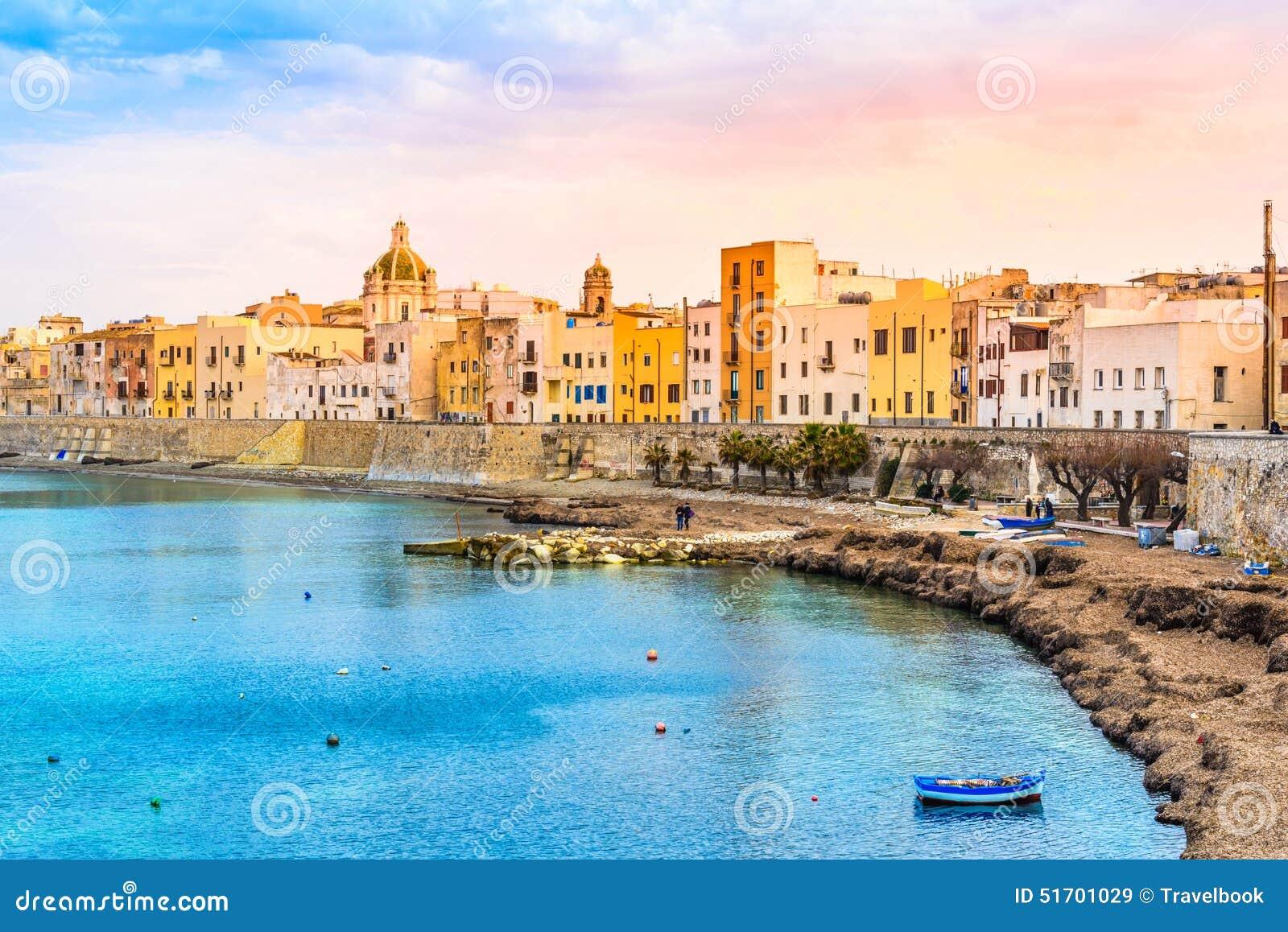 Trapani Panoramic View Sicily Italy Stock Photo Image