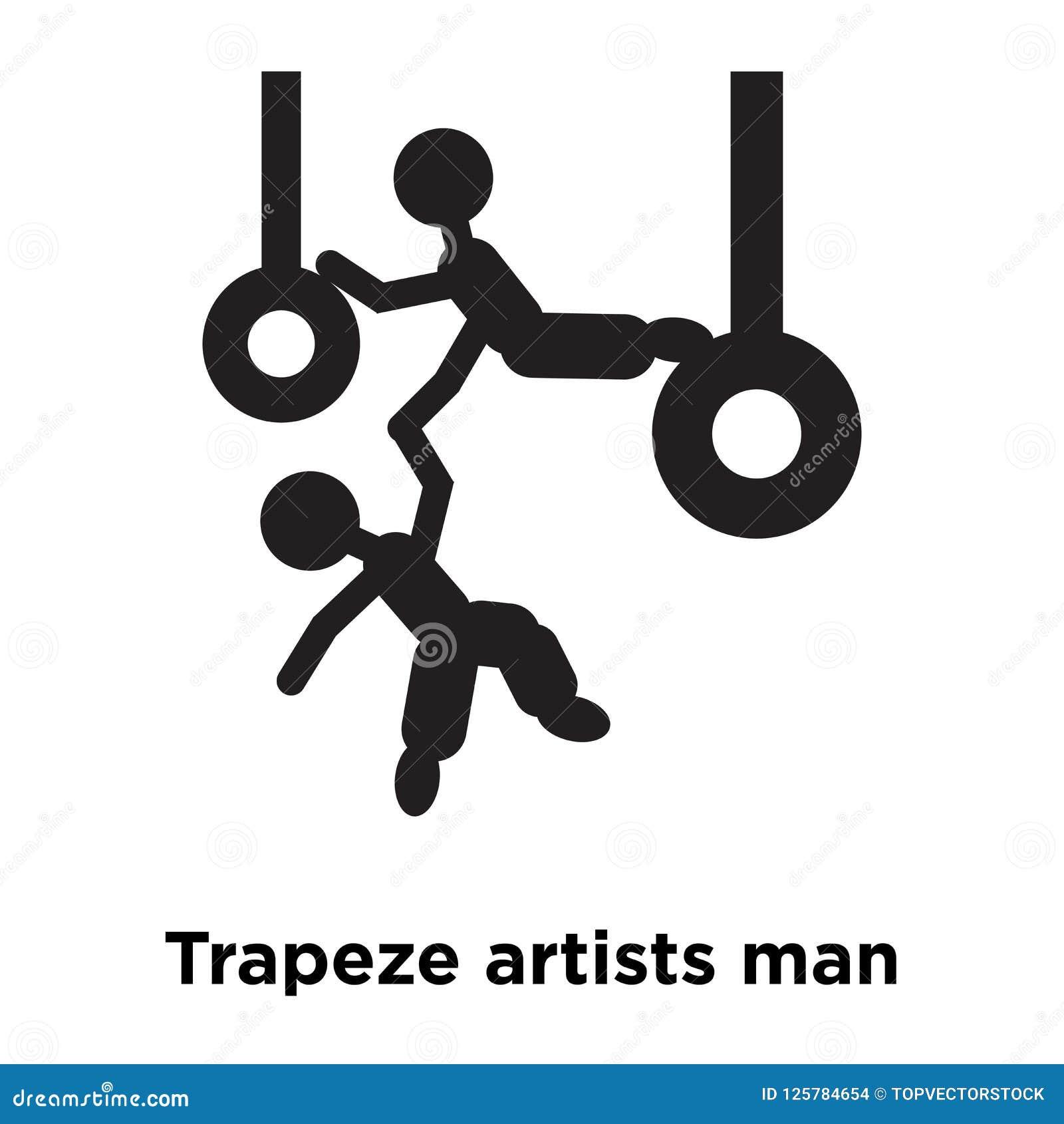Trapeze artyści obsługują ikona wektor odizolowywającego na białym tle, lo