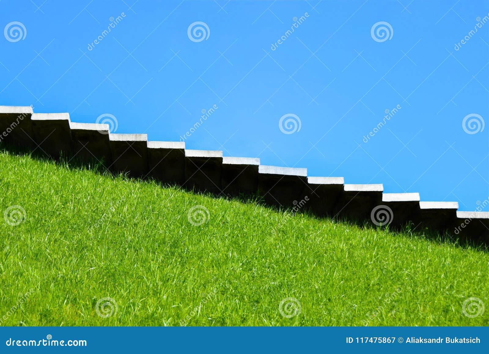 Trappa moment upp, moment - ner klättrar tillväxt, nedgång, stigande, prestationen, naturen, karriären, kullen, monumentet, kopie