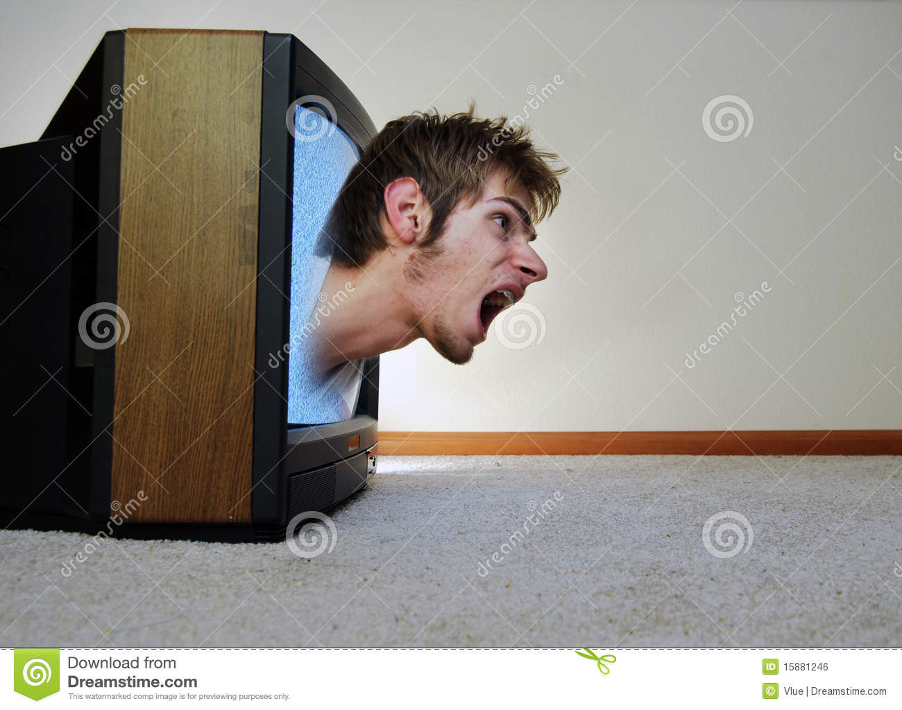 Trapped Inside Of The Tv Royalty Free Stock Image Image