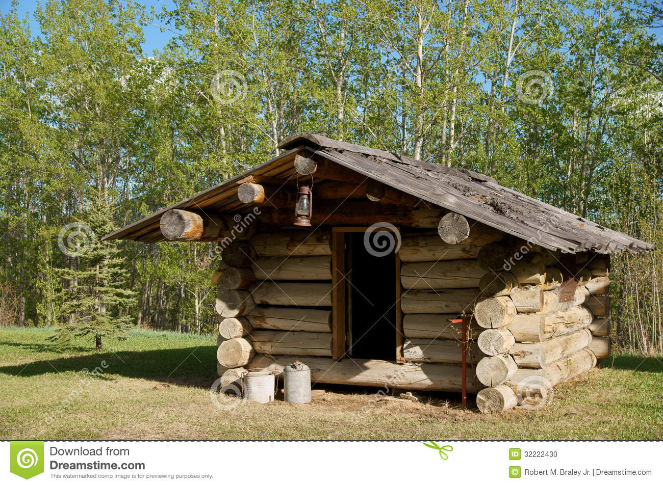 Download Trappers Log Cabin stock photo. Image of creek, historic - 32222430