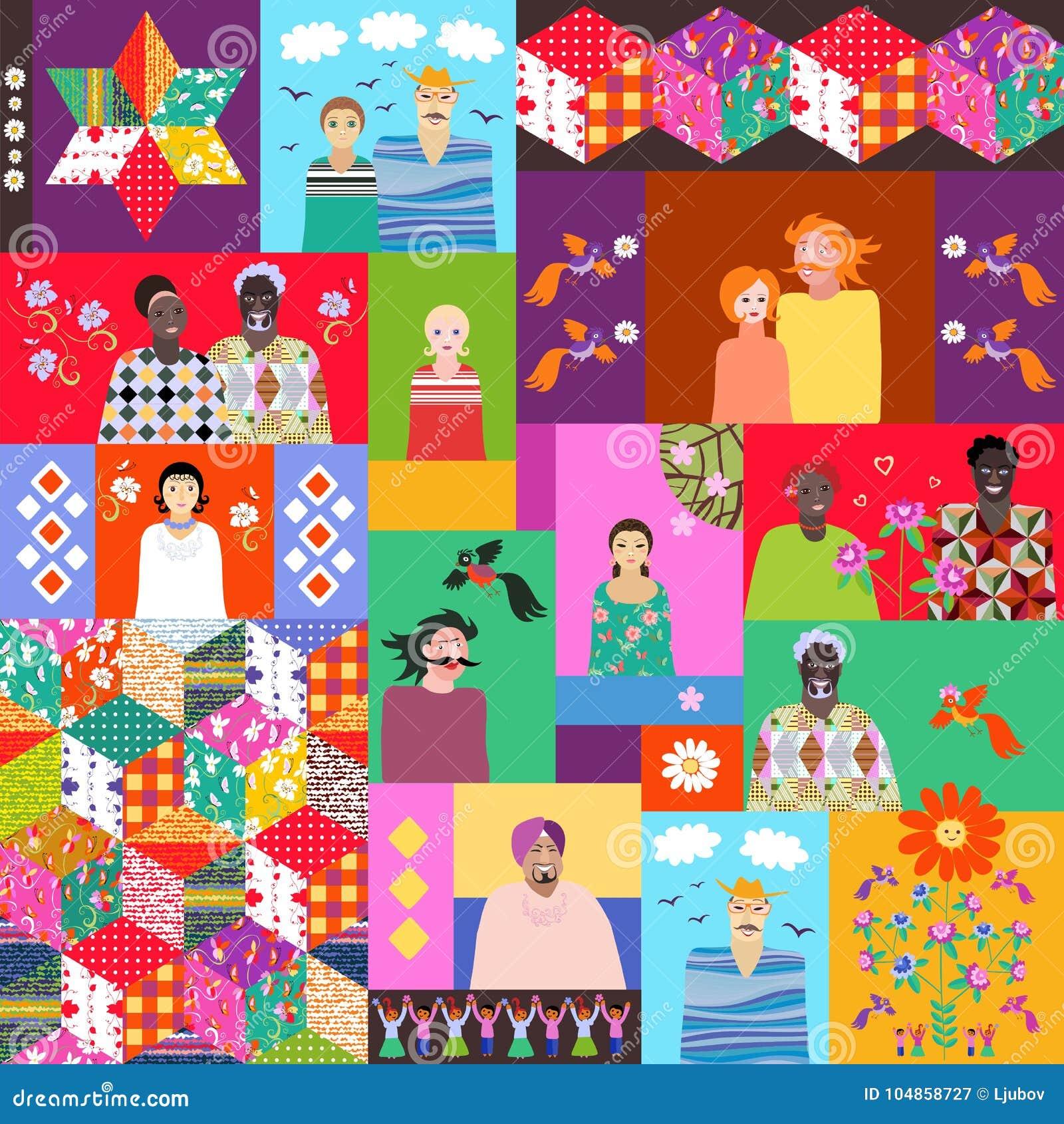 Trapunta multicolore con la gente sveglia del fumetto delle età e corse differenti, fiori, uccelli e modello della rappezzatura
