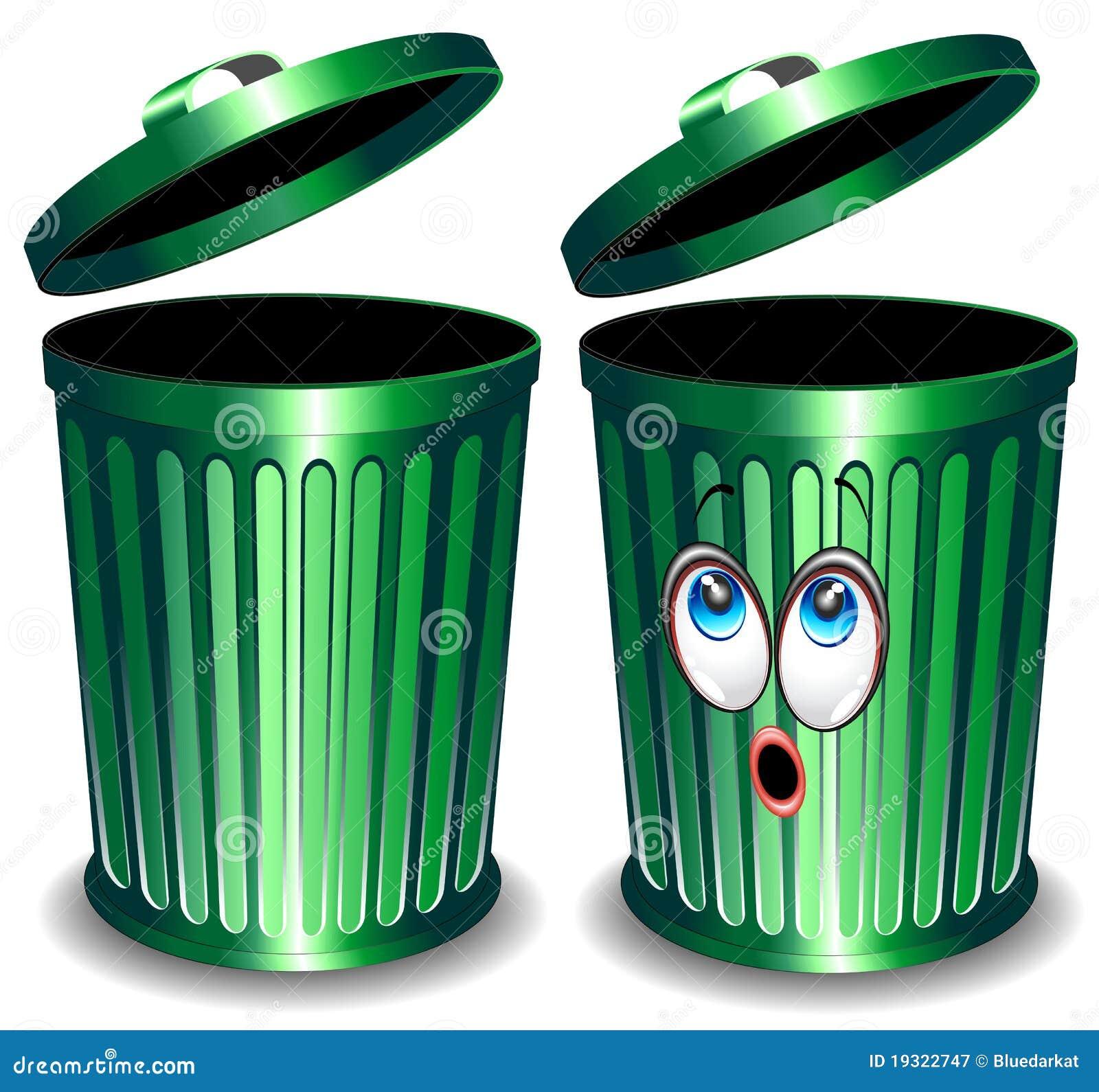 bin cartoon green trash