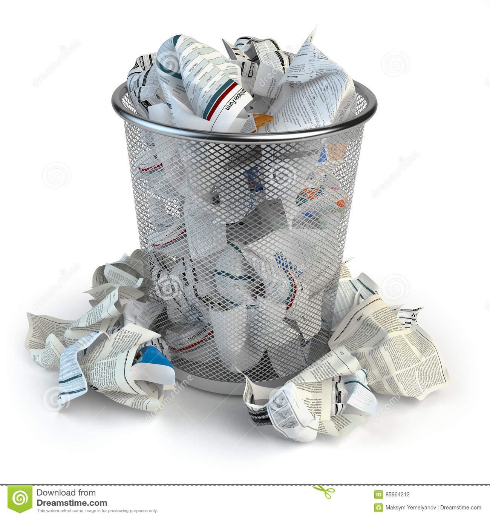 Wastepaper Basket trash bin full of waste paper. wastepaper basket isolated on whi