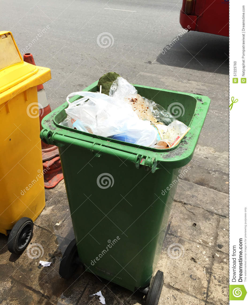 Trash bin on the road stock photo image 57223760 - Rd rubbish bin ...