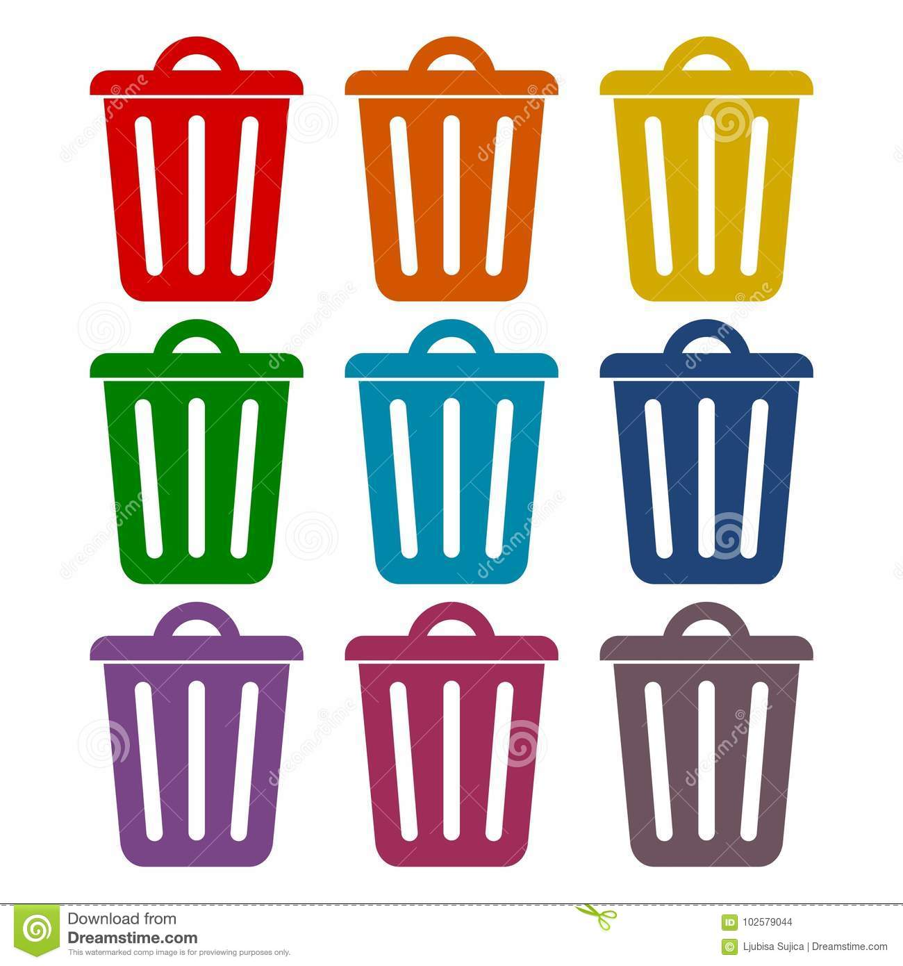 Trash Can Icons Set Grunge Ilration Of 9 Vector For Stock