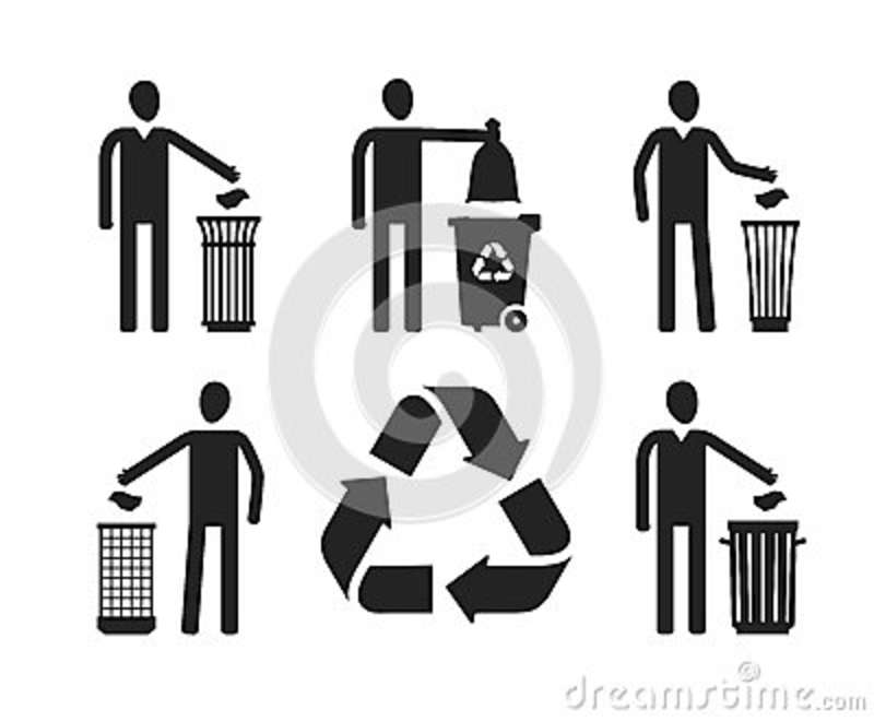 Trash Can Or Bin With Human Figure Recycling Do Not Litter Set Of