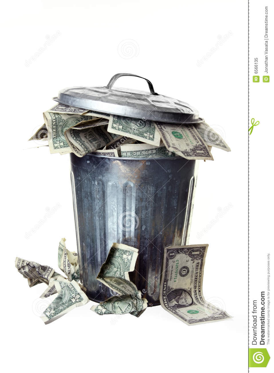 Trash Can Full Of Money Stock Image Image Of Crumpled