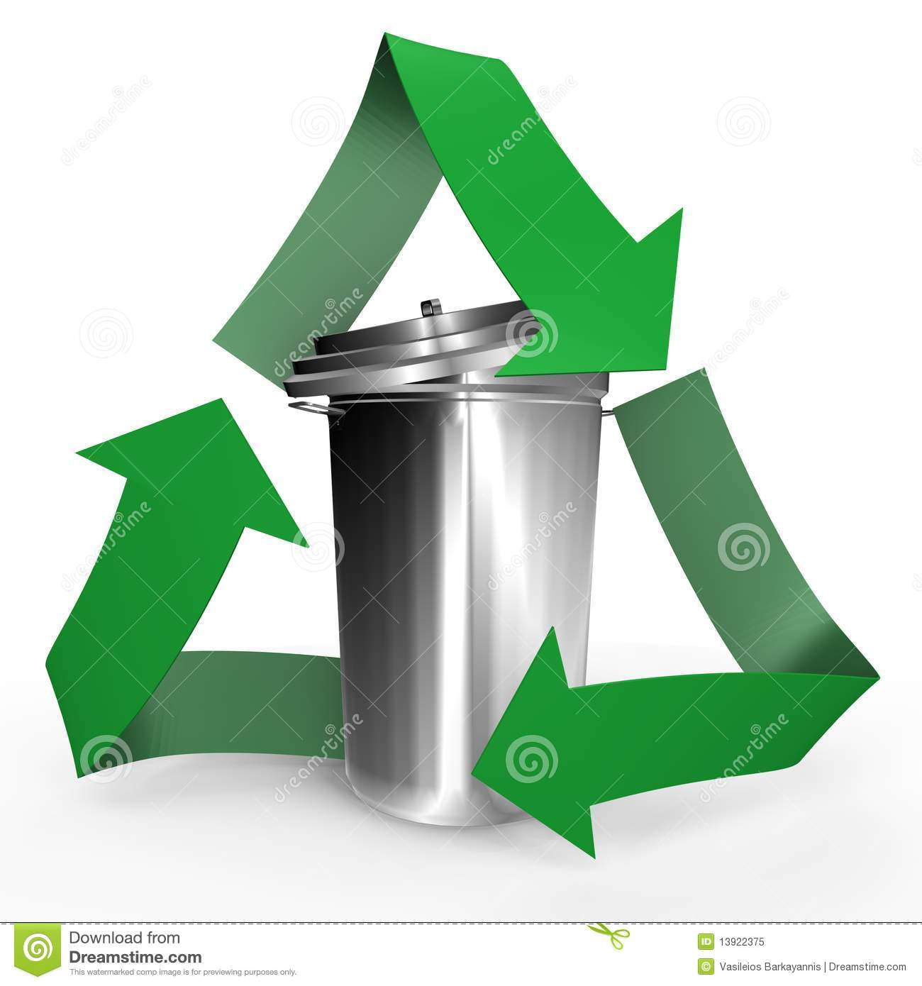 Trash Can Inside The Recycle Symbol A 3d Image Stock Illustration