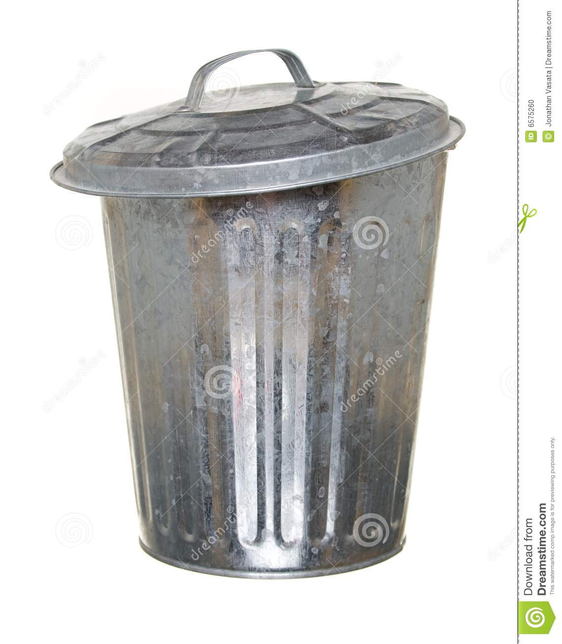Aluminium Garbage Cans : Trash can lid ajar forward stock photo image