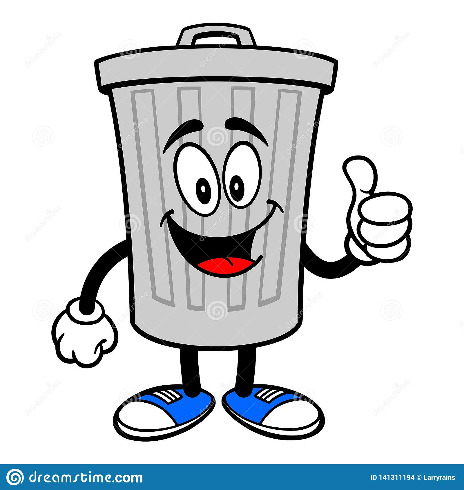 Trash Can Mascot With Thumbs Up Stock Vector Illustration Of
