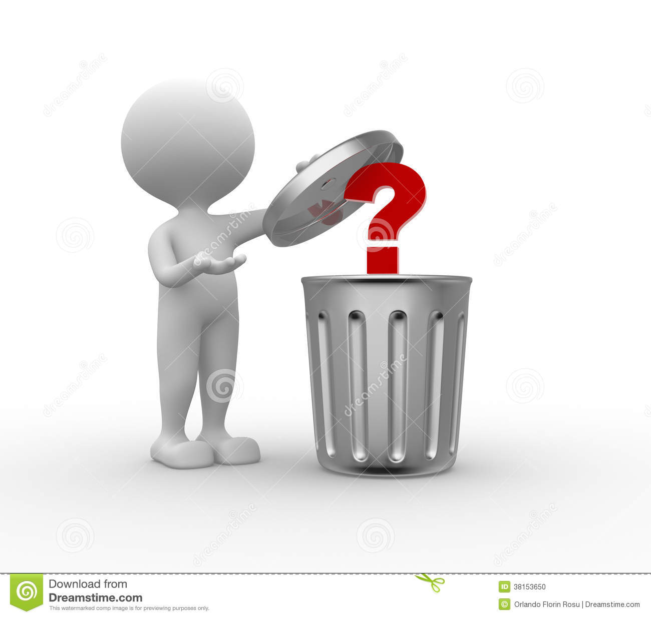 Trash Can And Question Mark Stock Illustration - Illustration of ...