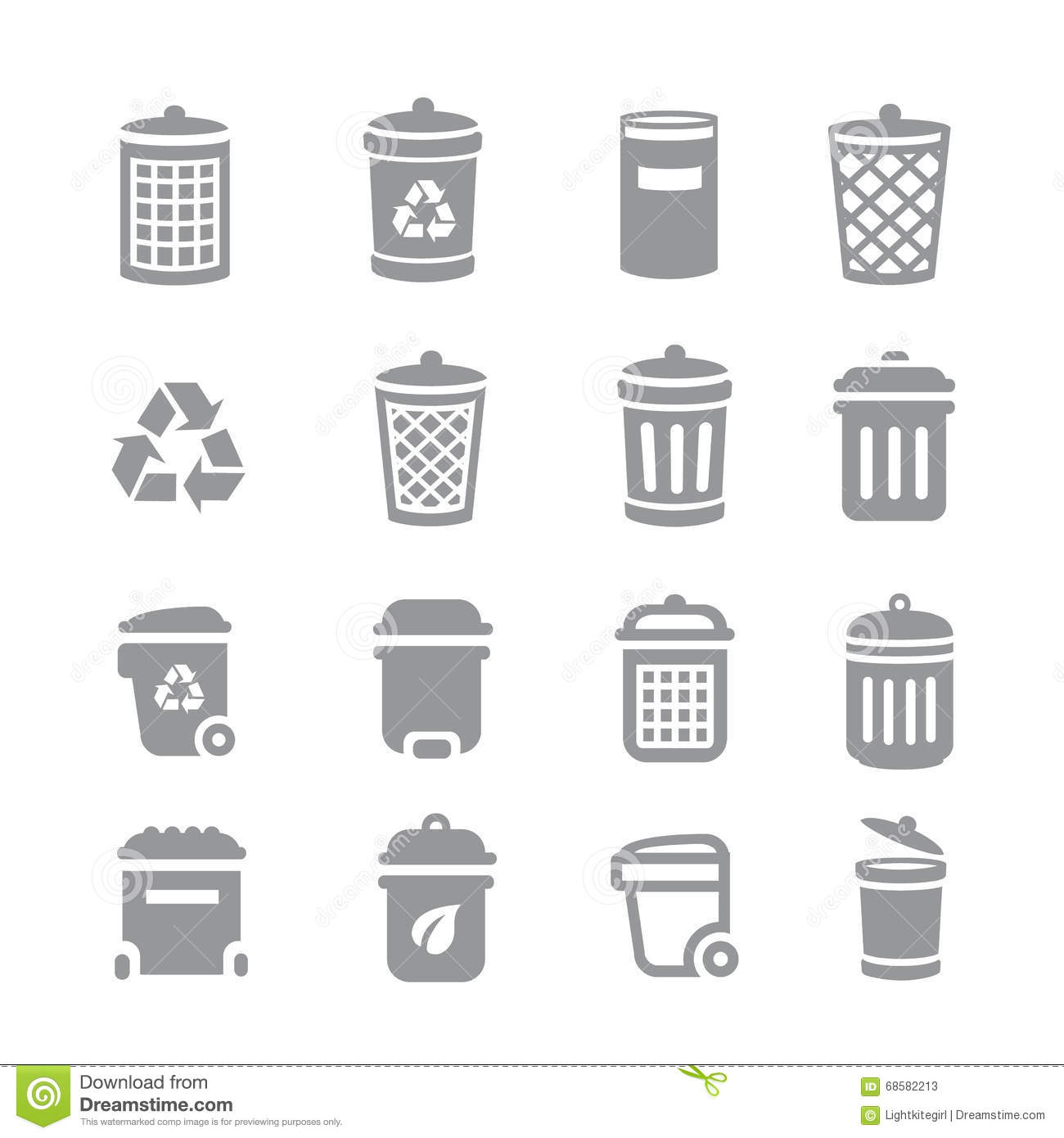 Trash Can And Recycle Bin Icons. Garbage And Rubbish, Clean And ...
