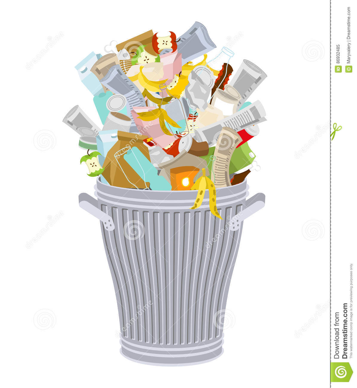 Trash Can With Rubbish Isolated. Wheelie Bin With Garbage On White ... 30197e985aa1