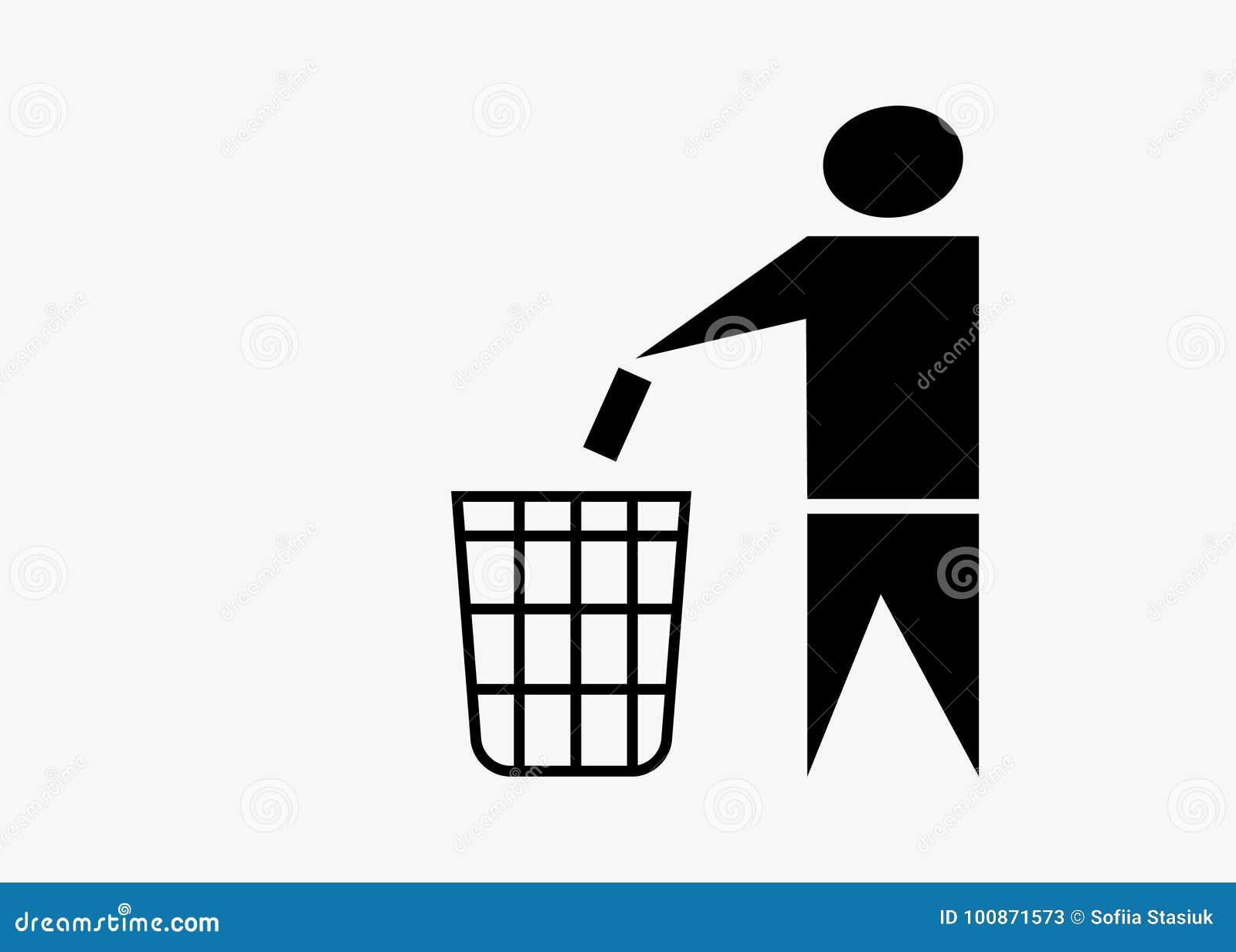 Trash Can Symbol No Littering Stock Vector Illustration Of Hand