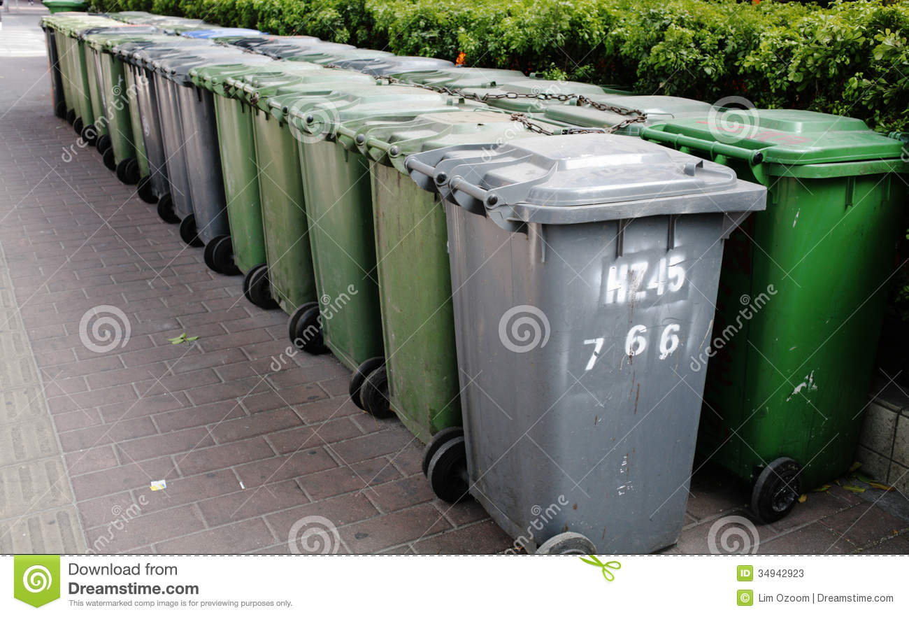 Trash cans stock image image of path housing collect 34942923 - Rd rubbish bin ...